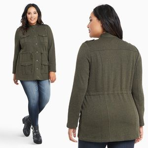 Torrid Wild Moss FRENCH TERRY KNIT MILITARY JACKET